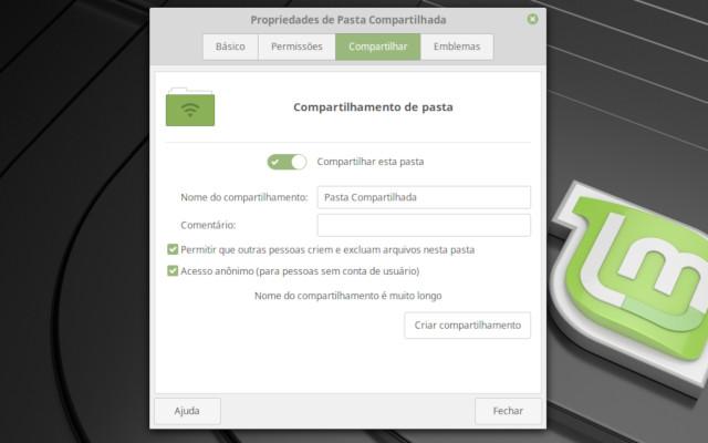 Pasta compartilhada no Linux Mint