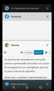 Abas de apps em segundo plano